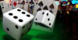Dice and cards at an online casino